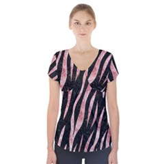 Skin3 Black Marble & Red & White Marble Short Sleeve Front Detail Top