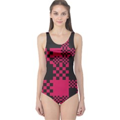 Cube Square Block Shape Creative One Piece Swimsuit