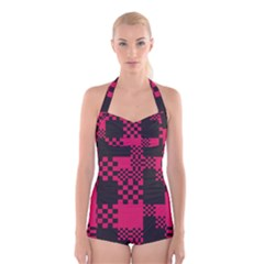 Cube Square Block Shape Creative Boyleg Halter Swimsuit