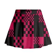 Cube Square Block Shape Creative Mini Flare Skirt