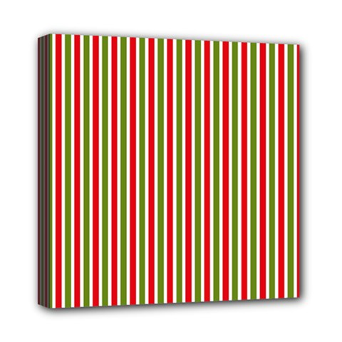 Pattern Background Red White Green Mini Canvas 8  X 8