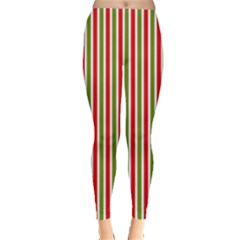 Pattern Background Red White Green Leggings