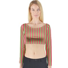 Pattern Background Red White Green Long Sleeve Crop Top