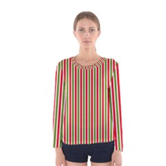 Pattern Background Red White Green Women s Long Sleeve Tee