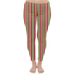 Pattern Background Red White Green Classic Winter Leggings