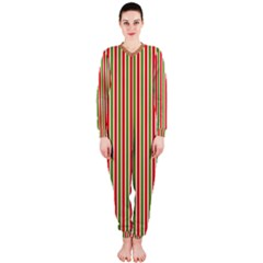 Pattern Background Red White Green Onepiece Jumpsuit (ladies)