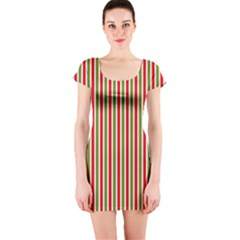 Pattern Background Red White Green Short Sleeve Bodycon Dress