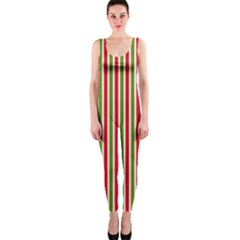 Pattern Background Red White Green Onepiece Catsuit