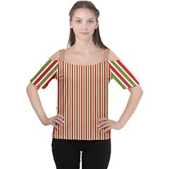 Pattern Background Red White Green Women s Cutout Shoulder Tee