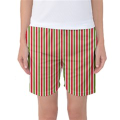 Pattern Background Red White Green Women s Basketball Shorts