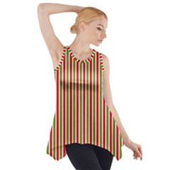 Pattern Background Red White Green Side Drop Tank Tunic