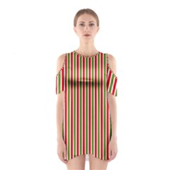 Pattern Background Red White Green Shoulder Cutout One Piece