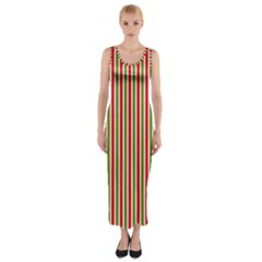 Pattern Background Red White Green Fitted Maxi Dress