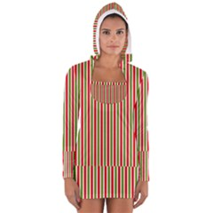 Pattern Background Red White Green Women s Long Sleeve Hooded T Shirt
