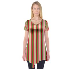 Pattern Background Red White Green Short Sleeve Tunic