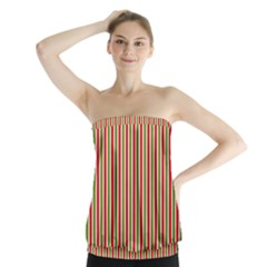 Pattern Background Red White Green Strapless Top