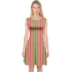 Pattern Background Red White Green Capsleeve Midi Dress