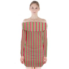 Pattern Background Red White Green Long Sleeve Off Shoulder Dress