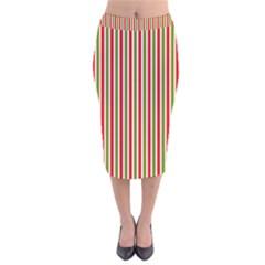 Pattern Background Red White Green Velvet Midi Pencil Skirt