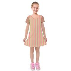 Pattern Background Red White Green Kids  Short Sleeve Velvet Dress