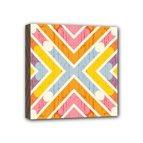 Line Pattern Cross Print Repeat Mini Canvas 4  X 4
