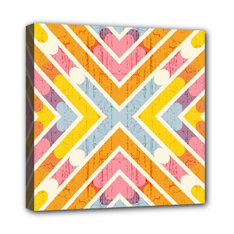 Line Pattern Cross Print Repeat Mini Canvas 8  X 8