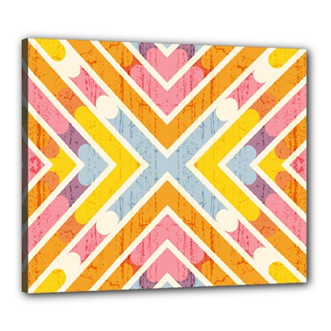 Line Pattern Cross Print Repeat Canvas 24  X 20