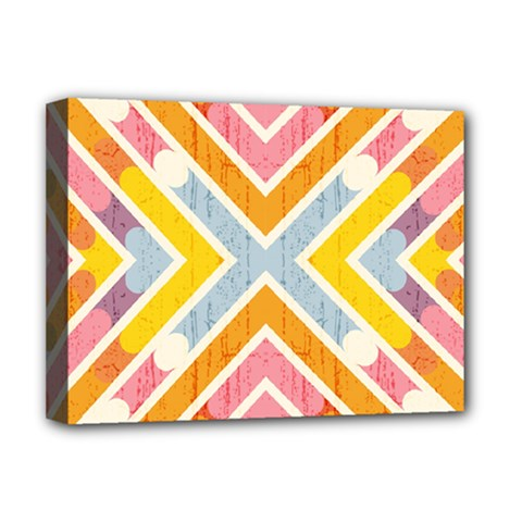 Line Pattern Cross Print Repeat Deluxe Canvas 16  X 12