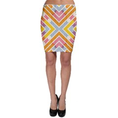 Line Pattern Cross Print Repeat Bodycon Skirt