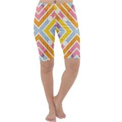 Line Pattern Cross Print Repeat Cropped Leggings