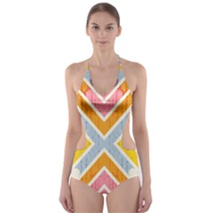 Line Pattern Cross Print Repeat Cut-Out One Piece Swimsuit