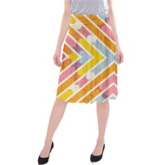 Line Pattern Cross Print Repeat Midi Beach Skirt