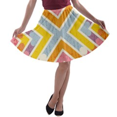 Line Pattern Cross Print Repeat A Line Skater Skirt