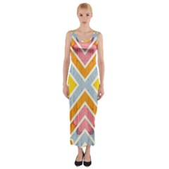 Line Pattern Cross Print Repeat Fitted Maxi Dress