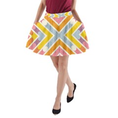 Line Pattern Cross Print Repeat A Line Pocket Skirt