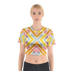 Line Pattern Cross Print Repeat Cotton Crop Top