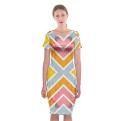 Line Pattern Cross Print Repeat Classic Short Sleeve Midi Dress
