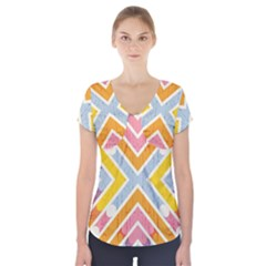 Line Pattern Cross Print Repeat Short Sleeve Front Detail Top
