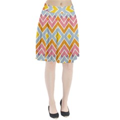 Line Pattern Cross Print Repeat Pleated Skirt