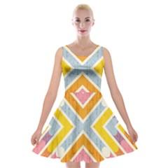 Line Pattern Cross Print Repeat Velvet Skater Dress