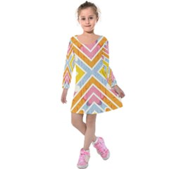 Line Pattern Cross Print Repeat Kids  Long Sleeve Velvet Dress