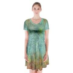 Rainforest Short Sleeve V-neck Flare Dress