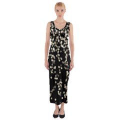 Christmas Bokeh Lights Background Fitted Maxi Dress