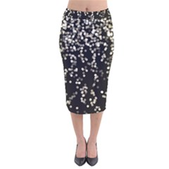 Christmas Bokeh Lights Background Velvet Midi Pencil Skirt