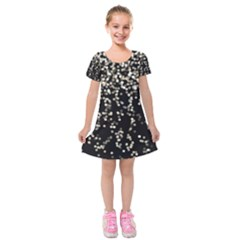Christmas Bokeh Lights Background Kids  Short Sleeve Velvet Dress
