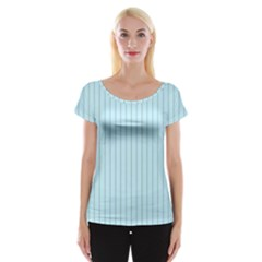 Stripes Striped Turquoise Women s Cap Sleeve Top