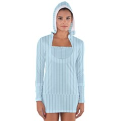 Stripes Striped Turquoise Women s Long Sleeve Hooded T Shirt