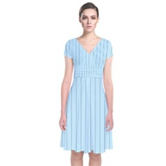 Stripes Striped Turquoise Short Sleeve Front Wrap Dress