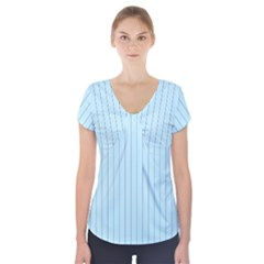 Stripes Striped Turquoise Short Sleeve Front Detail Top
