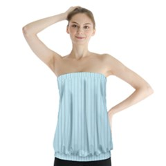 Stripes Striped Turquoise Strapless Top